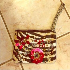 Express Animal Print Floral Sequin Clutch